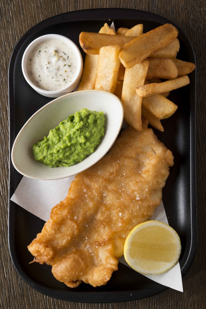 Traditional fish and chips, crushed peas, tartar sauce ($26)